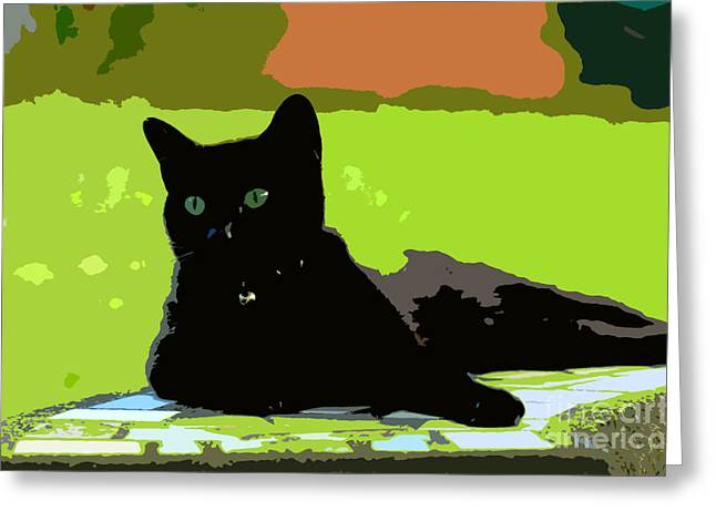 Cat Art Greeting Cards - Green eyes Greeting Card by David Lee Thompson