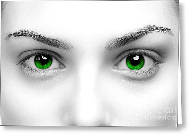 Enhanced Greeting Cards - Green eyes Greeting Card by Richard Thomas