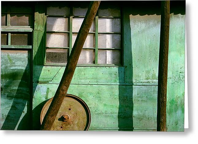 Hardware Shop Greeting Cards - Green Facade with parallels lines and circle. Belgrade. Serbia Greeting Card by Juan Carlos Ferro Duque