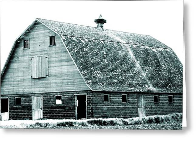 Painted Wood Greeting Cards - Green Field Barn Greeting Card by Julie Hamilton