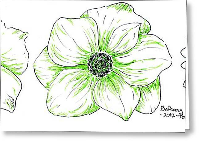 Pen And Ink Drawing Greeting Cards - Green Florals Greeting Card by Bethany Ponting