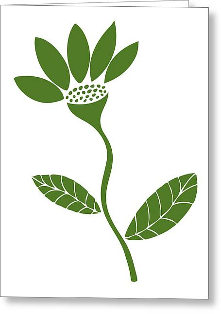 Biology Drawings Greeting Cards - Green Flower Greeting Card by Frank Tschakert