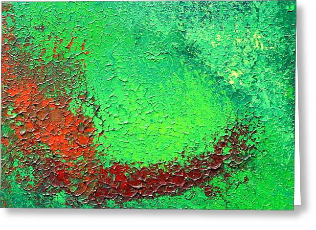 Fresh Green Reliefs Greeting Cards - Green Freshness Greeting Card by Inder Sethi