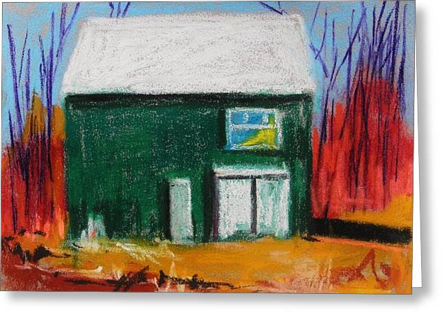 Barn Door Pastels Greeting Cards - Green Front Greeting Card by John  Williams