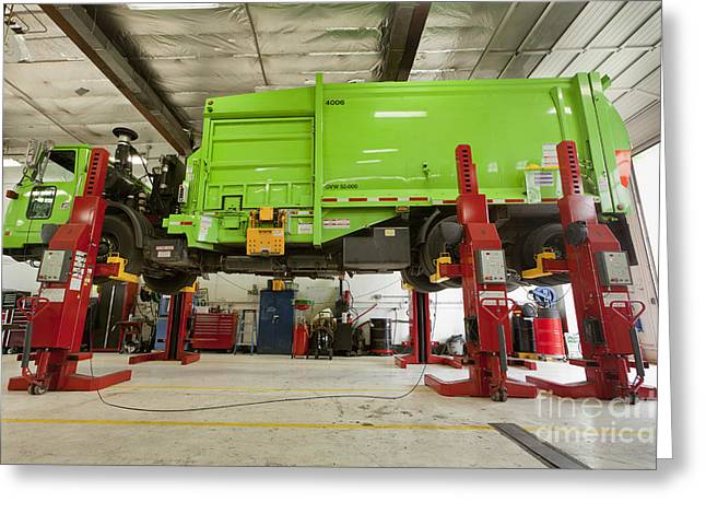 Garbage Truck Greeting Cards - Green Garbage Truck Maintenance Greeting Card by Don Mason