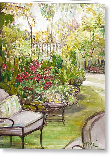 Becky Kim Greeting Cards - Green Garden  Greeting Card by Becky Kim