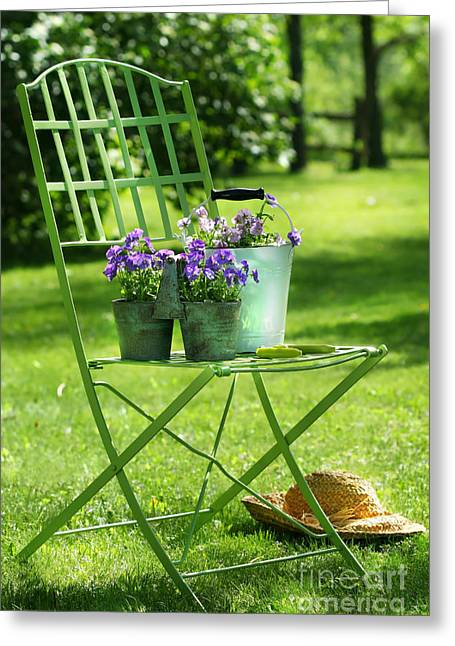 Laziness Greeting Cards - Green garden chair Greeting Card by Sandra Cunningham