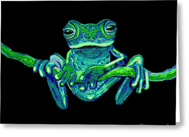 Amphibian Mixed Media Greeting Cards - Green Ghost Frog Greeting Card by Nick Gustafson