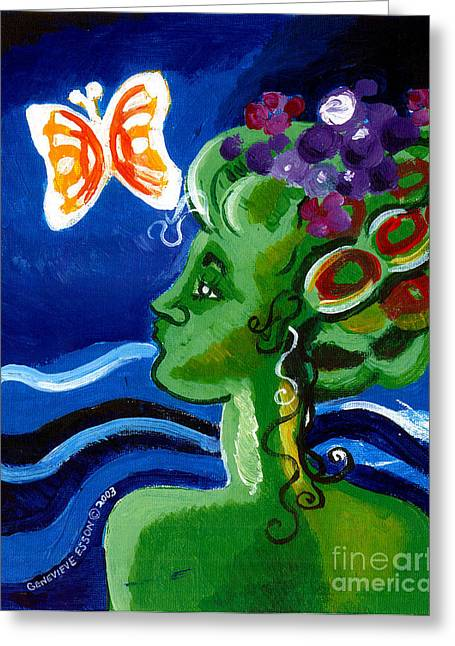 Canvas Panel Greeting Cards - Green Girl With Butterfly Greeting Card by Genevieve Esson