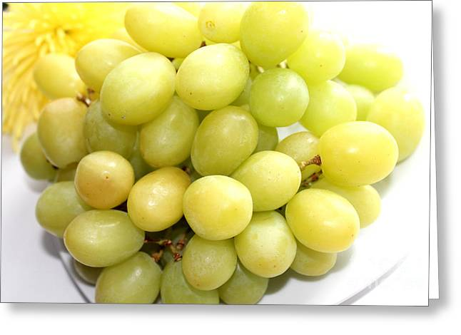 Bunch Of Grapes Greeting Cards - Green Grapes and Mum Greeting Card by Barbara Griffin