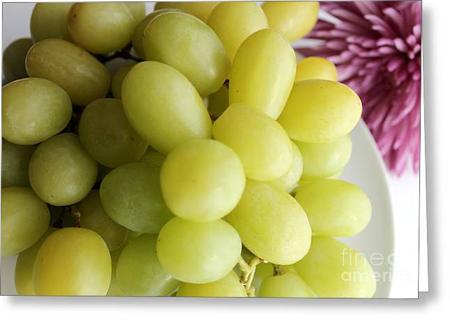 Bunch Of Grapes Greeting Cards - Green Grapes and Purple Mum Greeting Card by Barbara Griffin