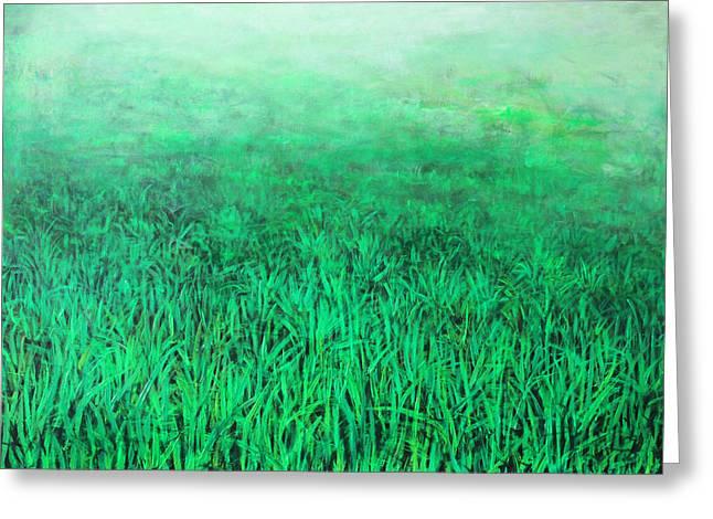 Fogg Greeting Cards - Green Grass Greeting Card by Lolita Bronzini