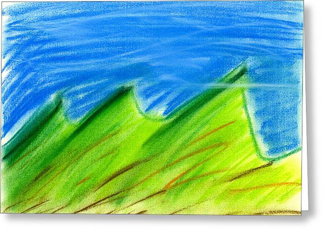 Expressionist Pastels Greeting Cards - Green HIlls Greeting Card by Hakon Soreide
