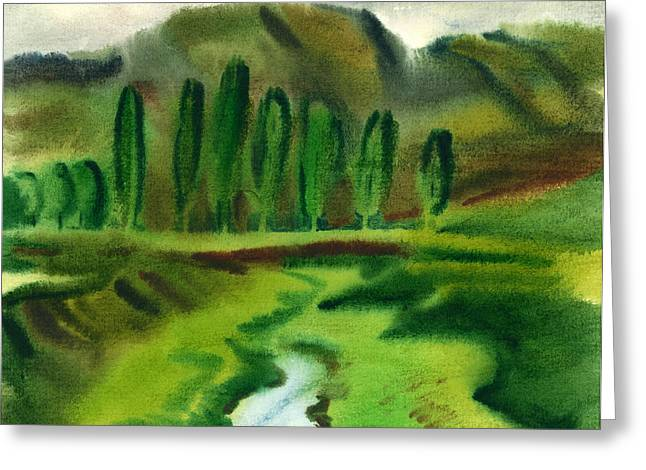 Green Landscape Greeting Card by Vasile Movileanu