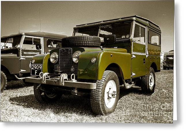 Four-wheel Greeting Cards - Green Landy Greeting Card by Rob Hawkins