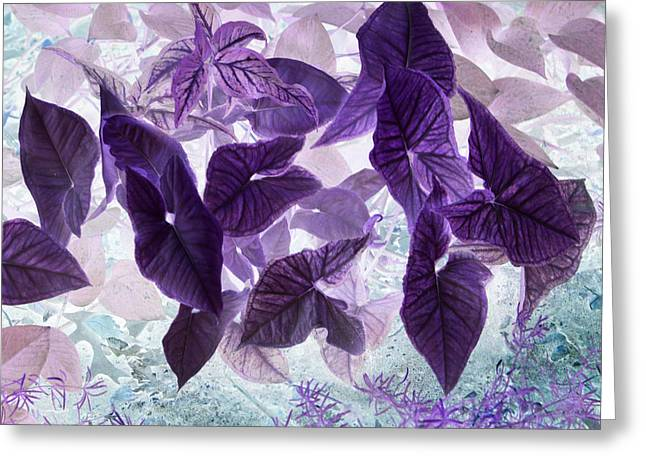 Inverse Greeting Cards - Green leaves Negative Greeting Card by Linda Phelps