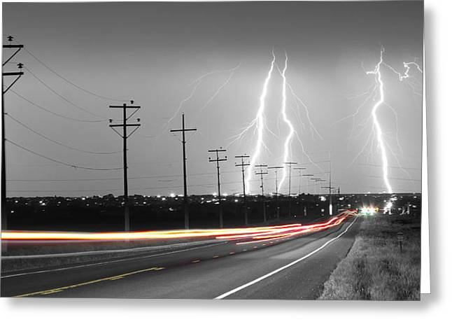 Images Lightning Greeting Cards - Green Light Into the Storm Panorama Greeting Card by James BO  Insogna