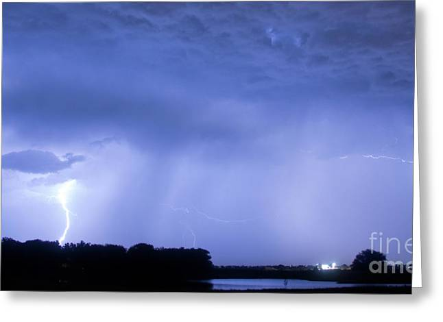 The Lightning Man Greeting Cards - Green Lightning Bolt Ball and Blue Lightning Sky Greeting Card by James BO  Insogna