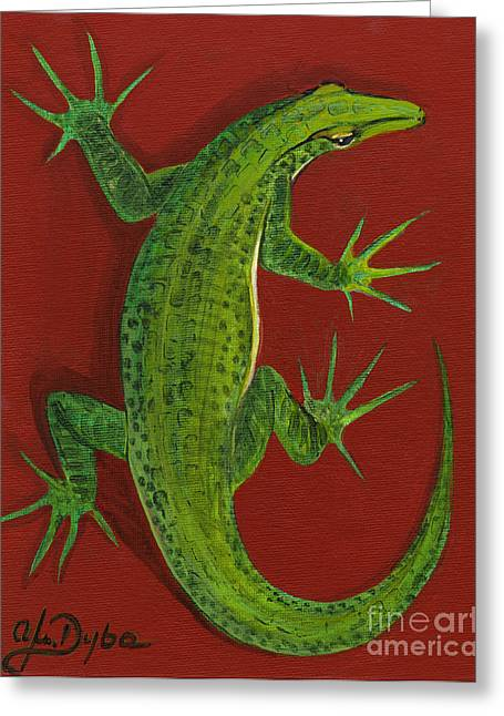 Anna Maciejewska-dyba Greeting Cards - Green Lizard Greeting Card by Anna Folkartanna Maciejewska-Dyba