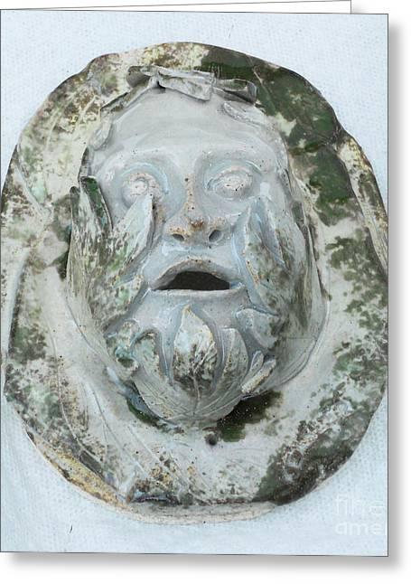 Ceramic Ceramics Greeting Cards - Green Man 3 Greeting Card by John Keasler