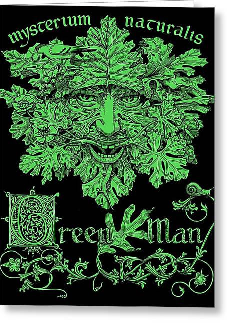 Illustrated Letter Greeting Cards - Green Man Greeting Card by Fremont Thompson