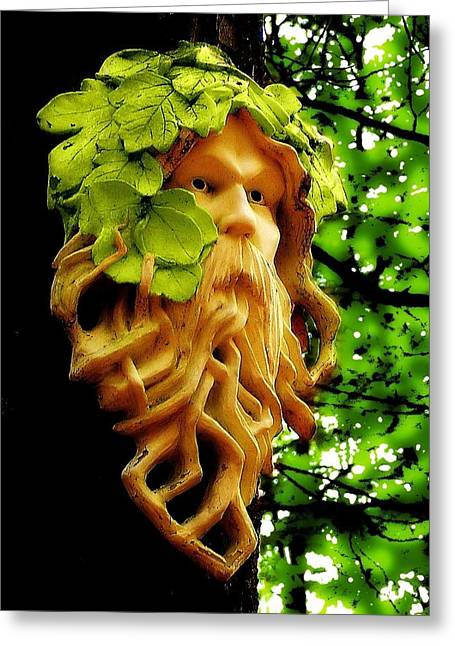 Woodsman Greeting Cards - Green Man Greeting Card by Jen White