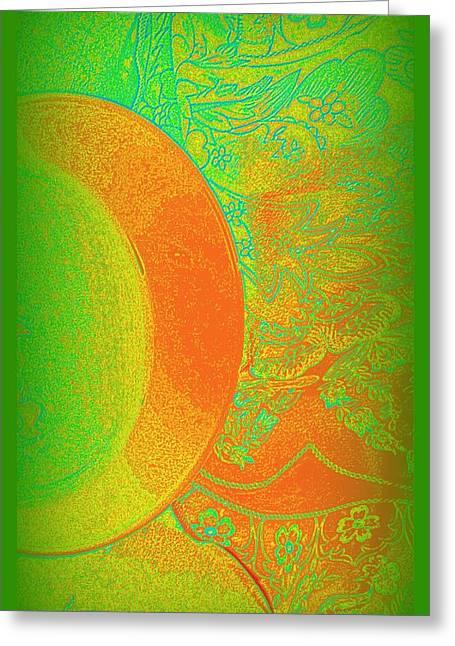 Mango Mixed Media Greeting Cards - Green Mango Bali Style Greeting Card by Wendy Wiese