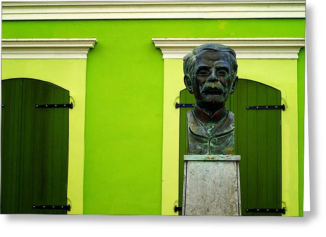 Historic Statue Greeting Cards - Green Greeting Card by Mauricio Jimenez