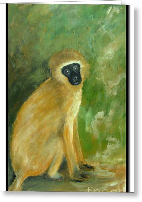 Barbara Marcus Greeting Cards - Green Monkey Greeting Card by Barbara Marcus