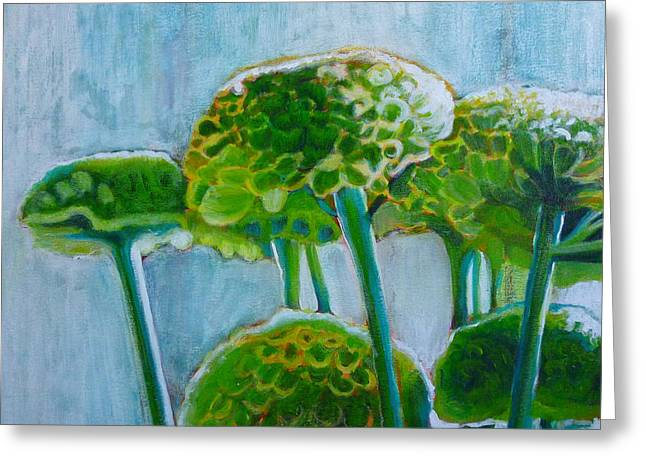 North Vancouver Paintings Greeting Cards - Green Mums Greeting Card by Sandrine Pelissier