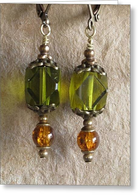 Gold Earrings Jewelry Greeting Cards - Green n Gold Greeting Card by Jan Brieger-Scranton