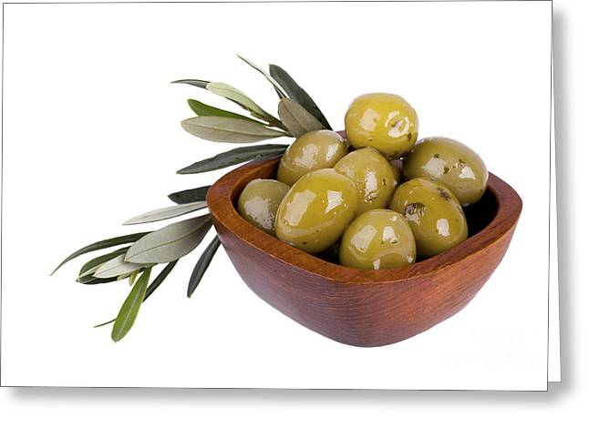 Health Food Greeting Cards - Green olives Greeting Card by Jane Rix