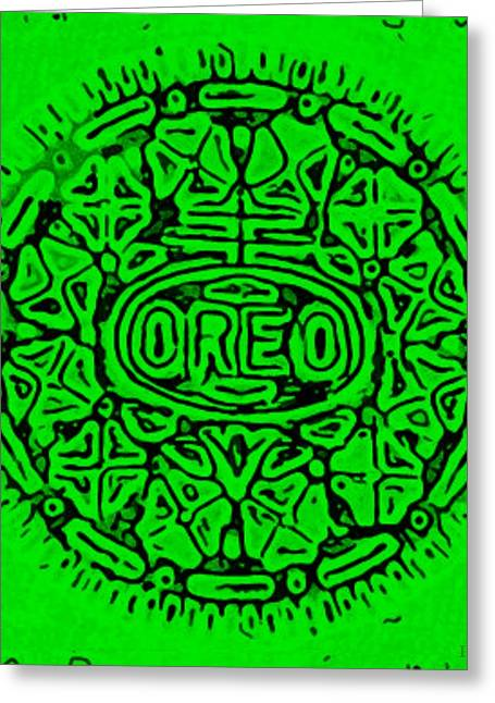 Oreo Greeting Cards - Green Oreo Greeting Card by Rob Hans