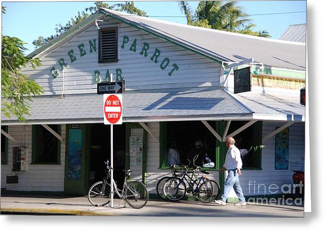 Green Parrot Bar In Key West Greeting Card by Susanne Van Hulst