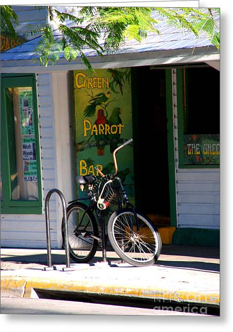 Florida House Greeting Cards - Green Parrot Bar Key West Greeting Card by Susanne Van Hulst