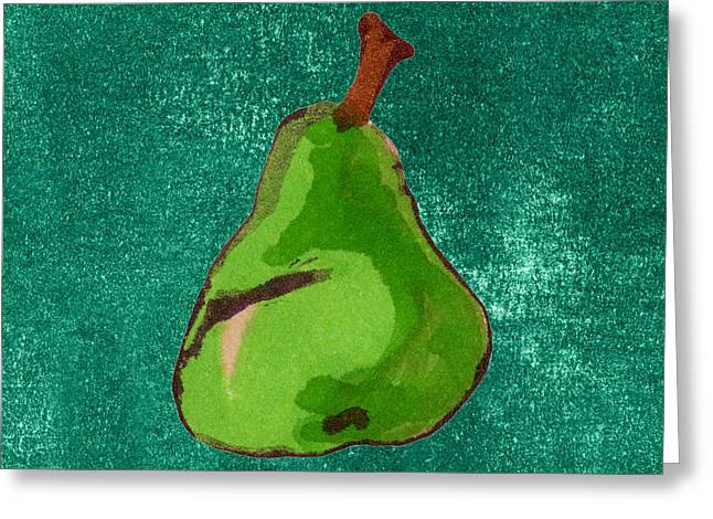 Pear Art Drawings Greeting Cards - Green Pear on Green Greeting Card by Marla Saville