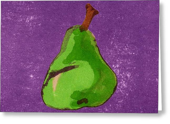 Pear Art Drawings Greeting Cards - Green Pear on Purple Greeting Card by Marla Saville