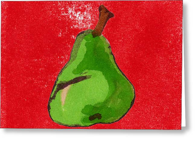 Pear Art Drawings Greeting Cards - Green Pear on Red  Greeting Card by Marla Saville