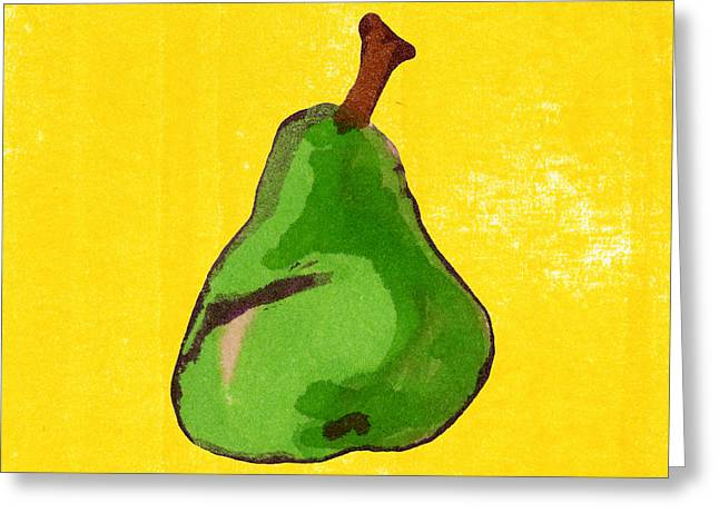 Pear Art Drawings Greeting Cards - Green Pear on Yellow Greeting Card by Marla Saville