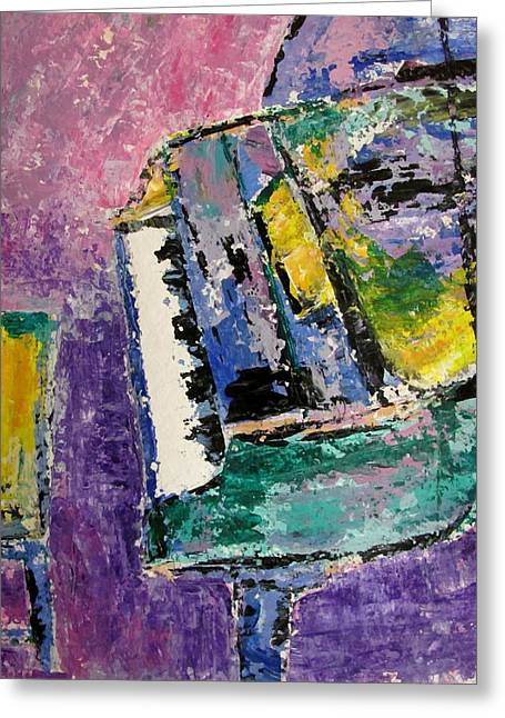 Splashy Paintings Greeting Cards - Green Piano Side View Greeting Card by Anita Burgermeister