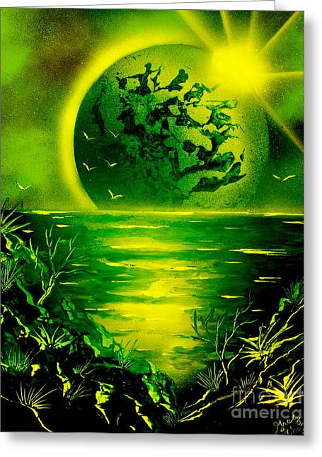 Outer Space Paintings Greeting Cards - Green Planet 4669 E Greeting Card by Greg Moores