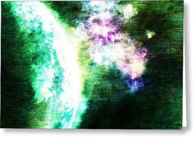 Macrocosmos Greeting Cards - Green Planet Greeting Card by Andrea Barbieri
