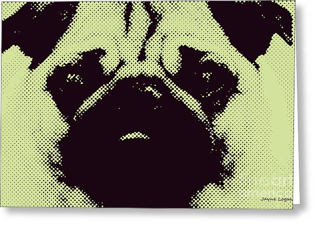 Pug Framed Prints Greeting Cards - Green Pug Greeting Card by Jayne Logan Intveld