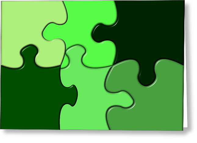 Social Relations Greeting Cards - Green Puzzle Greeting Card by Hans Engbers