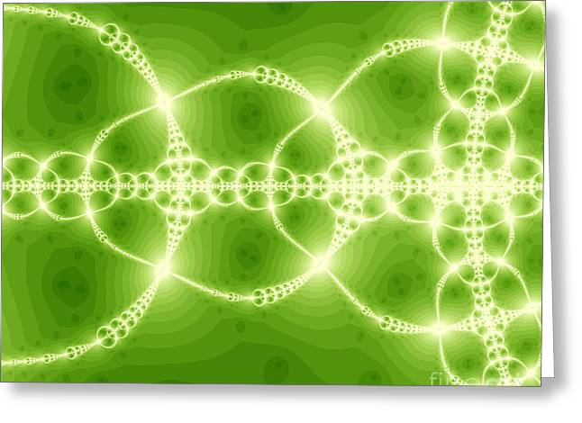 Sweating Digital Art Greeting Cards - Green reflection Greeting Card by Odon Czintos