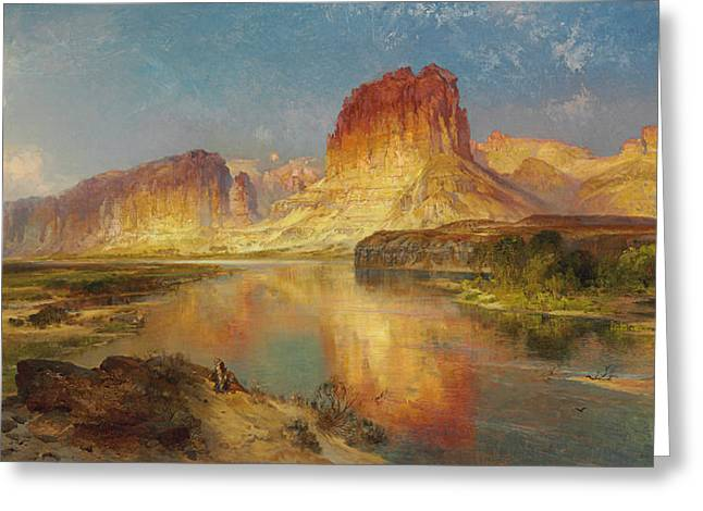 Masterpiece Paintings Greeting Cards - Green River of Wyoming Greeting Card by Thomas Moran