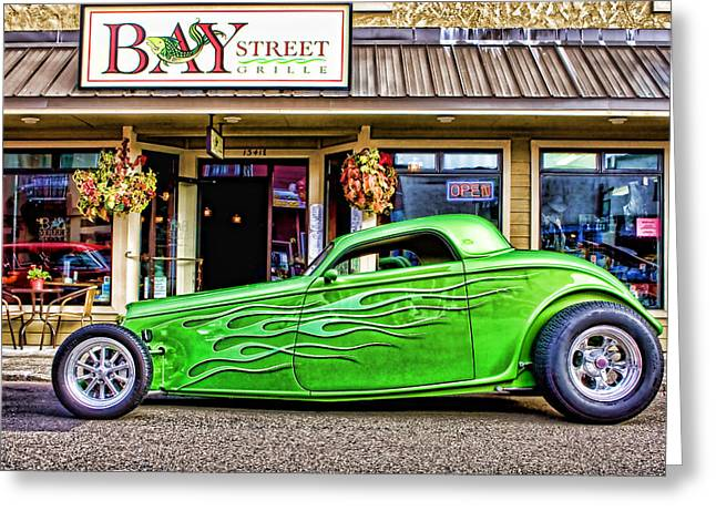 Florence Greeting Cards - Green Roadster Greeting Card by Carol Leigh