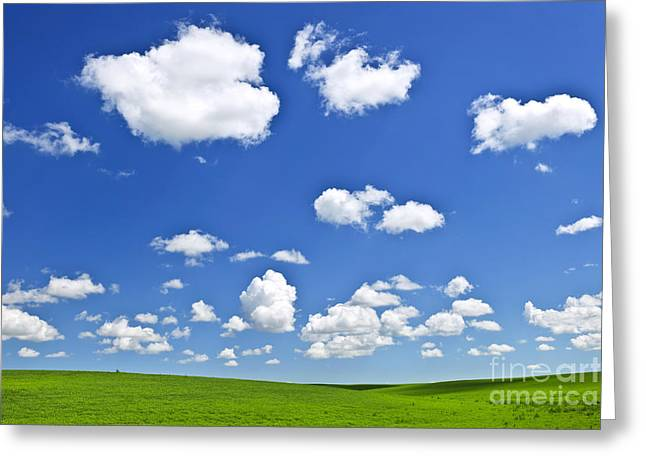 Saskatchewan Prairies Greeting Cards - Green rolling hills under blue sky Greeting Card by Elena Elisseeva