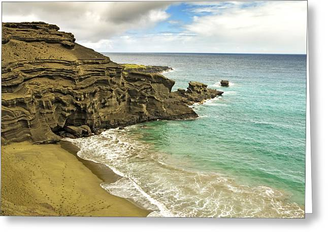 Ocean Shore Greeting Cards - Green Sand Beach on Hawaii Greeting Card by Brendan Reals