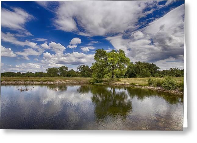 Green Scene At Lake 15 Greeting Card by Bill Tiepelman